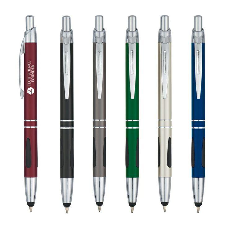 1. Lapicero Grip de Goma para Escribir comodidad y control con práctico Stylus 2. Colores Disponibles: Plateado con Negro, Gris, Verde, Azul