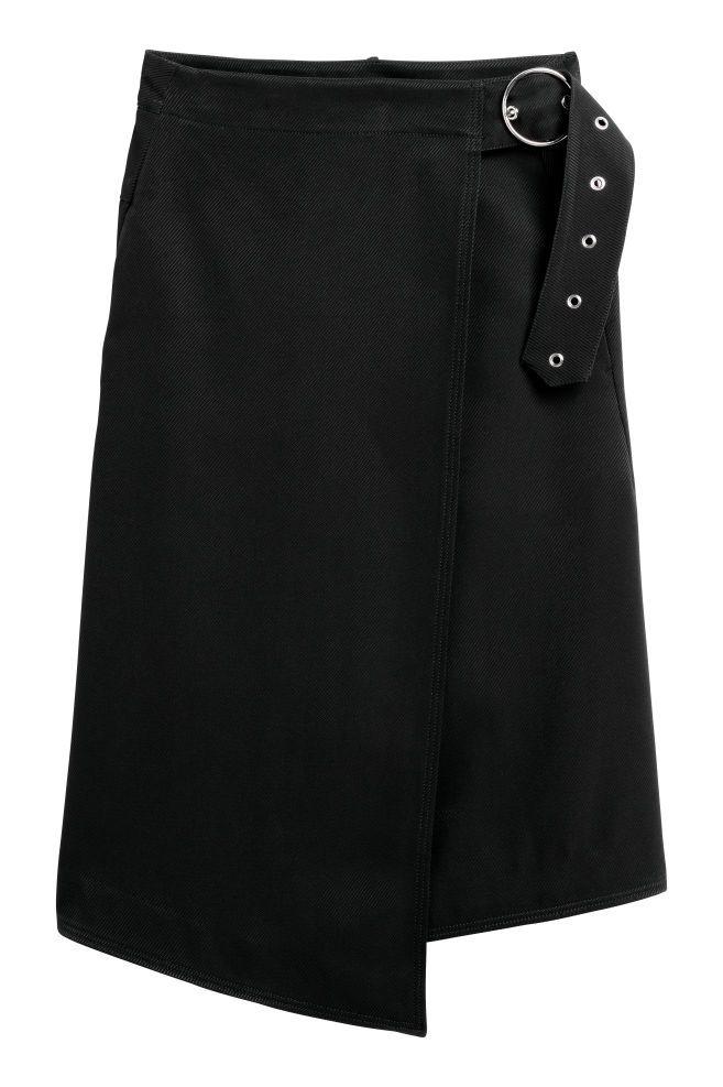 Wrapover twill skirt - Black - Ladies | H&M GB 1
