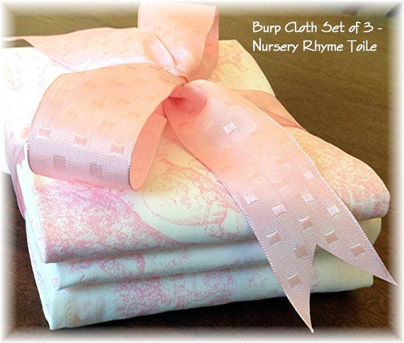 Burp Cloth Gift Set of 3 Nursery Rhyme Toile  by JustBabyBoutique