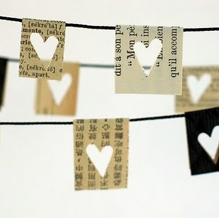 Simple garland of paper squares cut from old book pages