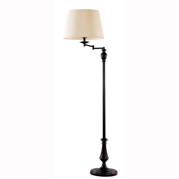 Hampton Bay 59 in. H Oil-Rubbed-Bronze Swing-Arm Floor Lamp with CFL Bulb-1000051635 - The Home Depot