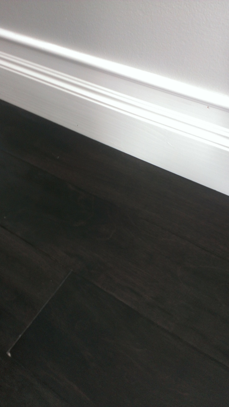 Dark Hardwood Flooring High Baseboards Our Kitchen