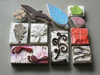 Allerlei manieren om stempels te maken: van gum, foam, elastiekjes, spijkers,....