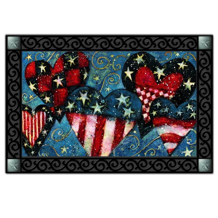 Patriotic Hearts Home Doormat | Patriotic Decorations ...