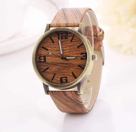 Wood Grain Texture Watch Wood Print Watch Rustic by CabanyCo