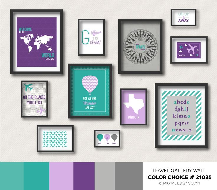 Travel Nursery Gallery Wall - Color Choice #21025 | Purple, Teal, Gray , Girl's Bedroom