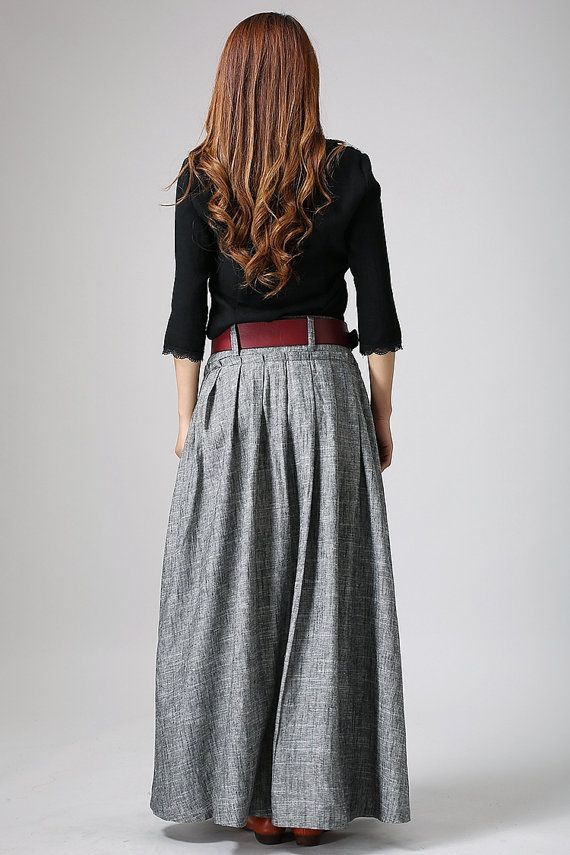 gray skirt woman's long skirt pleated skirt Maxi linen by xiaolizi