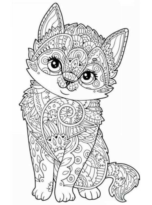 Animal Coloring Page For Adults Coloring Page Animals For Teens And Adults  Dieren Voor Cat Coloring Page, Dog Coloring Page, Mandala Coloring Pages