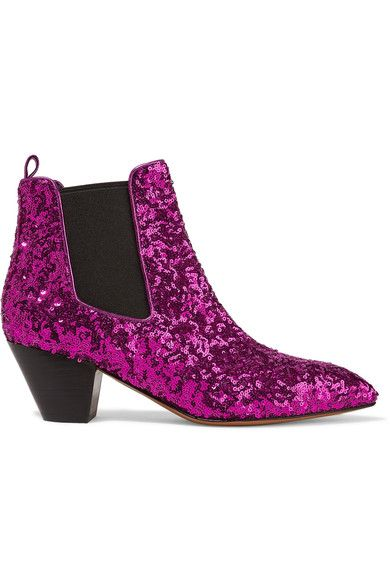 Marc Jacobs - Kim Sequined Leather Chelsea Boots - Magenta