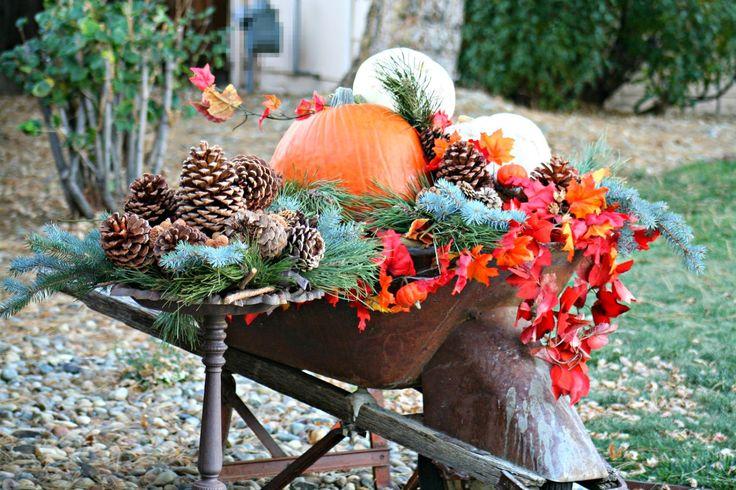 Autumn Wheelbarrow Decor