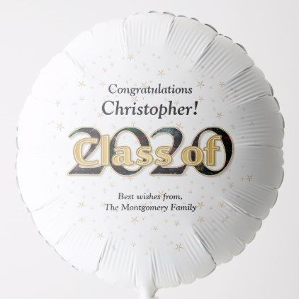 Class of 2020 Graduation Gold Stars Typography Balloon | Zazzle.com
