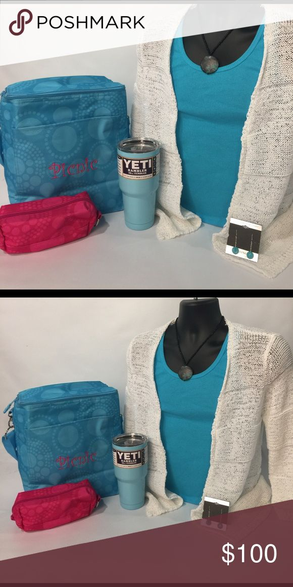 ❤️📦 SET 📦❤️ Sweater, Tank & Bracelet Accessories Bag, Earrings, Necklace, Ribbed Tank, Cream Sweater (S) cooler & cup Not included! Thirty-One Bags Travel Bags