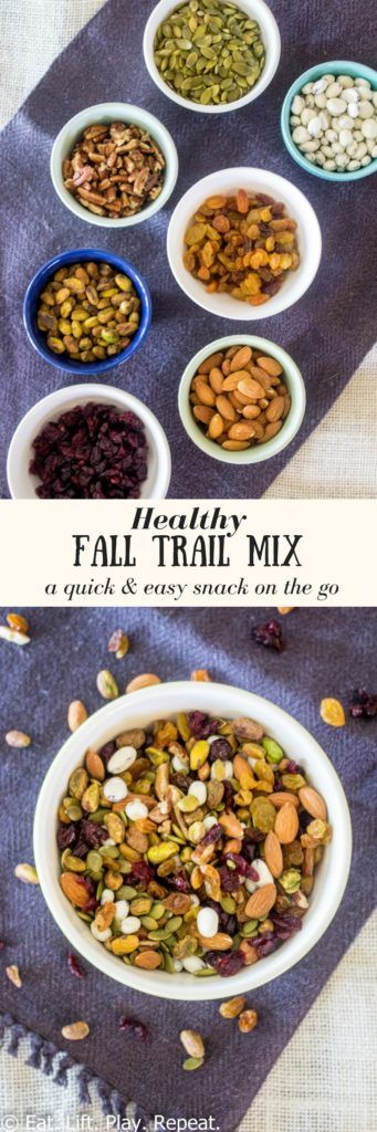 For a quick & easy snack on the go, make this Healthy Fall Trail Mix! It is full of healthy fats and protein from a variety of its. A touch of sweetness is added with dried fruits and yogurt-covered raisins! Mix and match ingredients for a healthy trail mix recipe of your own! Click through for more about this healthy fall trail mix.