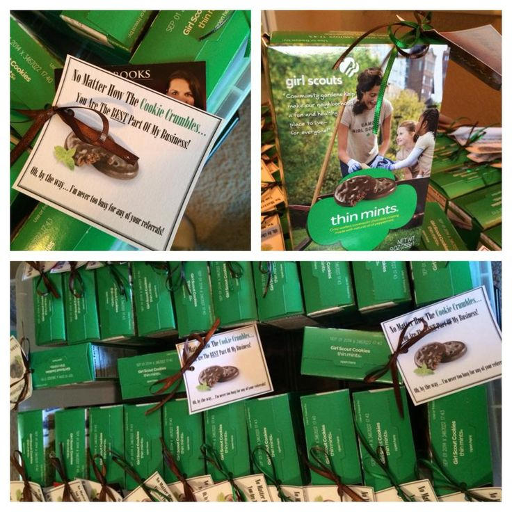 """Girl Scout cookie Pop-By idea: """"No matter how the cookie crumbles, your referrals are the best!"""""""