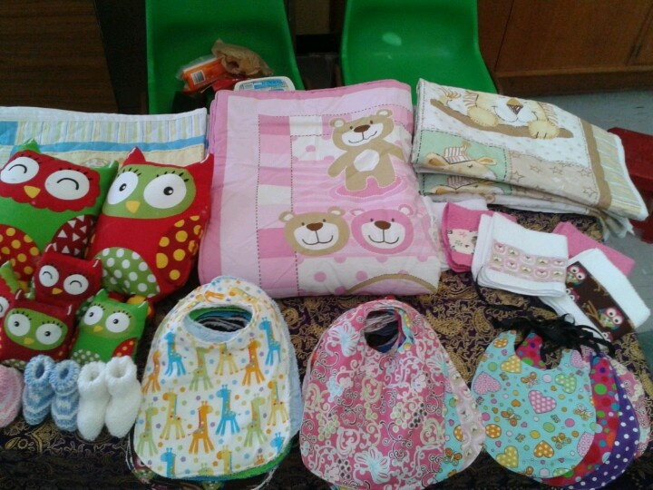 All my hand sewn baby goods. Love and joy I get sewing is huge<3
