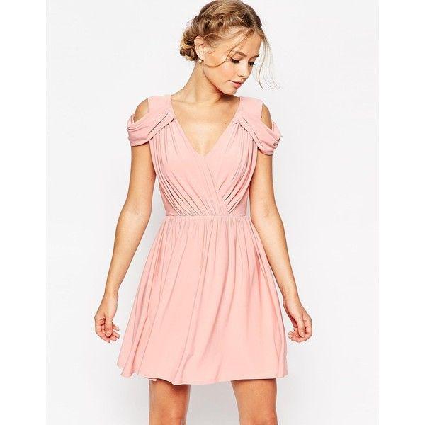 ASOS WEDDING Drape Cold Shoulder Mini Dress ($63) ❤ liked on Polyvore featuring dresses, dusty pink, v neck mini dress, mini dress, draped dress, asos and tall dresses