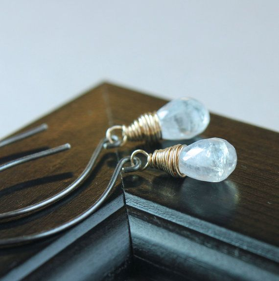 White Moonstone    Earrings   Mixed Metal       Gemstone by Hildes