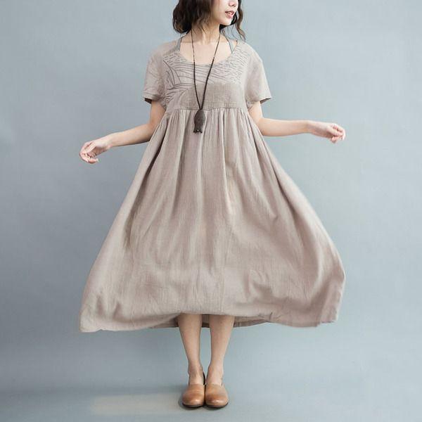 Abiti taglie forti - Marrone cotone lino ricamo sciolti abito Maxi - un prodotto unico di camilleyuxi su DaWanda