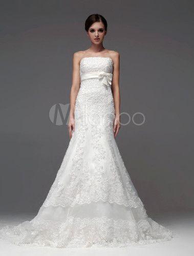 Robe de mariée fabuleuse A-ligne ivoire avec dentelle bustier - Milanoo.com