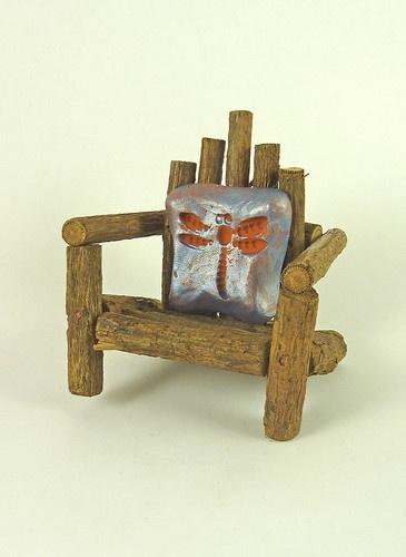 Dollhouse Miniature Fairy Garden Twig Adirondack Chair with Resin Pillow
