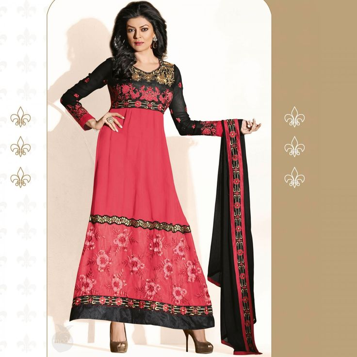 Oneline Store: Peach Mode Offer: Cerise Pink Black Anarkali @ Rs....