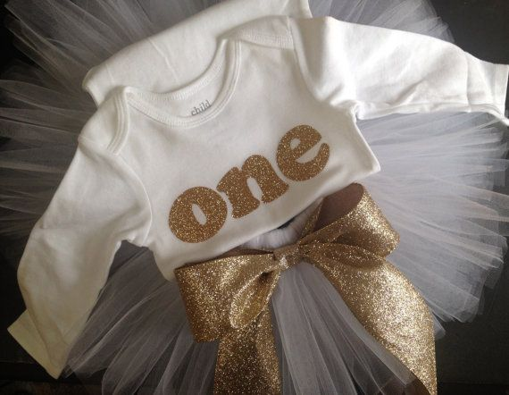 Gold glitter girls first birthday outfit by PaisleyPrintsSpokane, $49.95