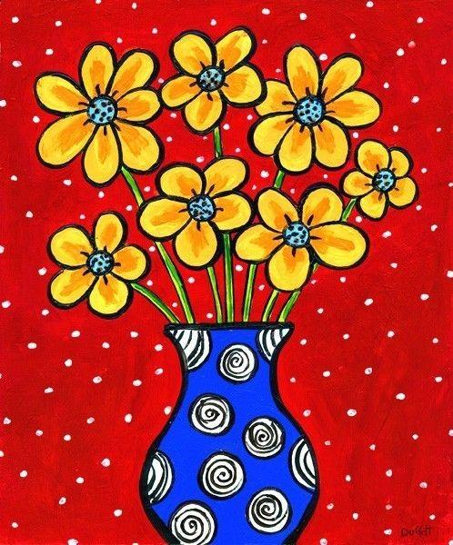 Amarillo flores en florero azul Print por AliceinParis en Etsy