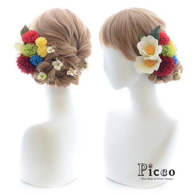 "Gallery 100  Order Made Works Japanese Style Hair Accessory  for SOTSUGYO-SHIKI By ""Picco"" http://picco-flower.com  #カラフル #マム と #白い #椿 が #絶妙 #コラボ な #和スタイル  #髪飾り #卒業式 #結婚式 #和装 にも  #custommade #original #hair #hairdo #dress#antique #bridal #party #event #headdress #花嫁  #ヘアアレンジ #オリジナル #ピッコ #picco #ヘアアクセサリー #ハレの日 #100"