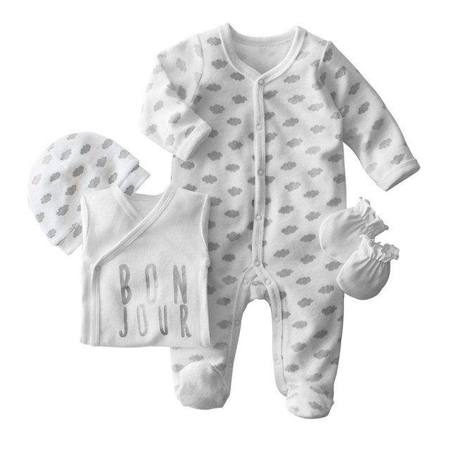 Kit naissance 4 pièces body, pyjama, bonnet et gants R baby