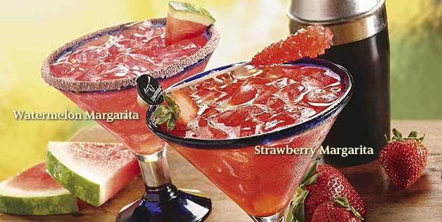 Longhorn's Margaritas Strawberry Cuervo Gold® tequila, Patrón Citrónge®, real strawberries and all-natural lemon & lime juices.  Watermelon Herradura® Silver tequila, Smirnoff® Watermelon Twist, Monin® Watermelon and all-natural lemon & lime juices
