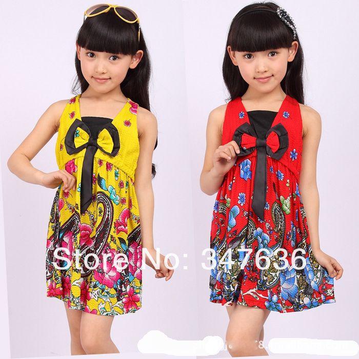 Los niños ropa de verano 2014 nuevo partido de verano lindo vestidos de flores niña 2~7age niña vestido de en de en Aliexpress.com