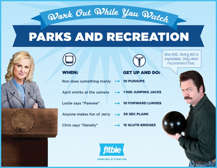 Workout while you watch! Parks and Recreation edition