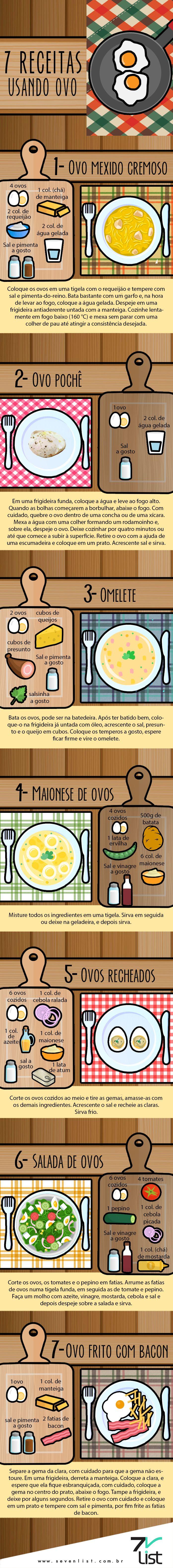 @cabidecolorido #List #Lista #Illustration #Desenho #Infográfico #Infographic #SevenList #Egg #Recipe #Food  #Receitas #Alimentação #Culinária #Ovo #Ingredientes #Ovomexido #Ovopochê #Omelete #Maionesedeovos #Maionese #Ovosrecheados #Saladadeovos #Salada #Ovofritocombacon #Ovofrito #Bacon