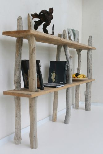 using branches, driftwood in shelves