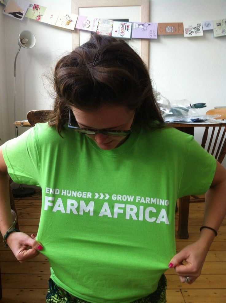 Phoebe wearing a Farm Africa t-shirt whilst taking part in the #LiveBelowtheLine challenge