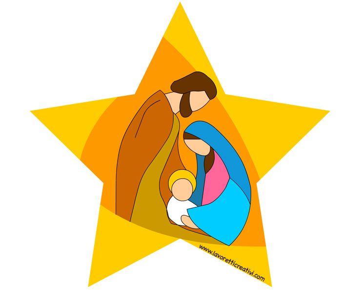 IDEA LAVORETTO NATALE Stella con Gesù, Giuseppe e Maria per realizzare un biglietto di Natale.