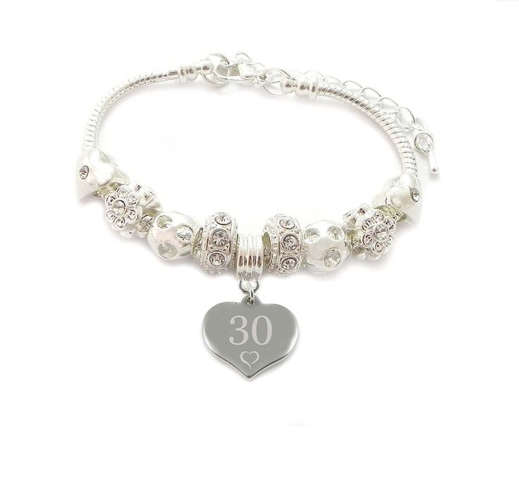 30th Birthday Personalised Engraved Charm Bracelet Women's - Gift Boxed CC7mRt