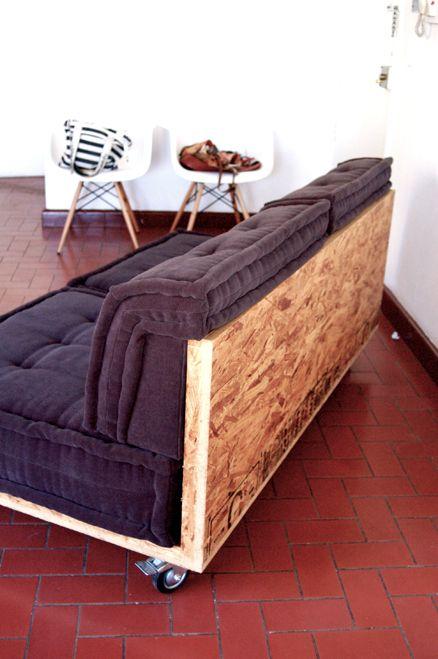 SALA MODULAR, madera OSB, tela y llantas. on Behance