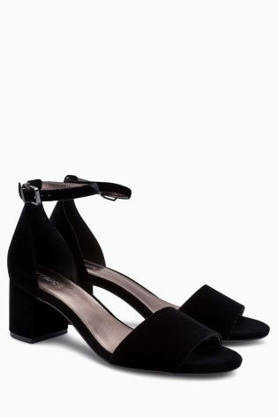 Buy Black Velvet Block Sandals from the Next UK online shop