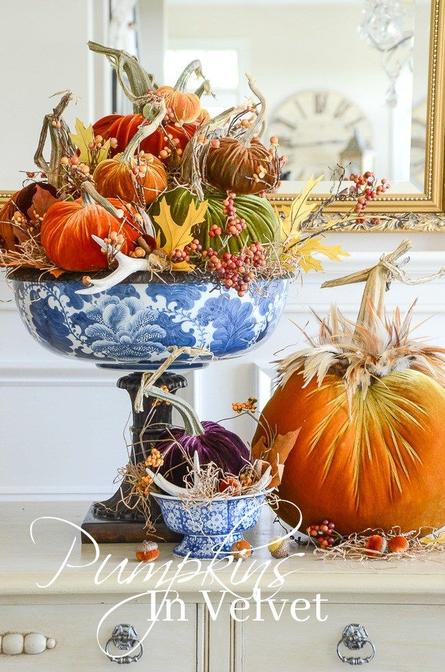 Pumpkins in Velvet Arrangement DIY - I'm sharing secrets for making the best arrangments and centerpieces. I'm sharing my secrets with you!
