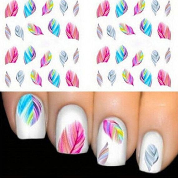 Nail Stickers feathers / Nail Tattoos / Nail by BeautyToolsStore