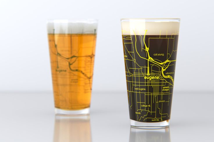 Eugene, OR - University of Oregon - College Town Map Pint Glass Set
