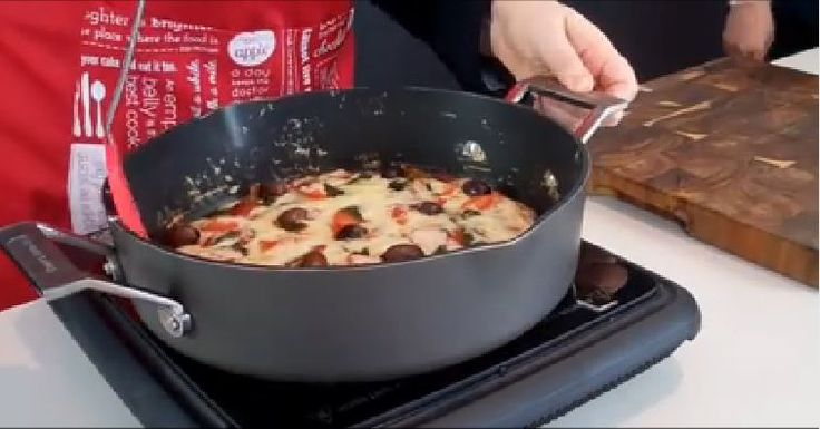 Stove-top pizza in 20 minutes — https://www.facebook.com/TheChefsToolbox/videos/458019277713166/?fref=nf — In large flat-bottom pan (like http://mychefstoolbox.com.au/product/18), mix ½ c self-rising flour, ½ c regular flour, 2/3 c warm water, pinch of salt, 1 tsp honey, 1 tsp dry yeast, then spread evenly around pan. Add pizza sauce and other toppings. Cook on stovetop at medium heat with well-sealed lid for 5 min. Then, vent the lid a little and cook another 10 min on medium-low heat.