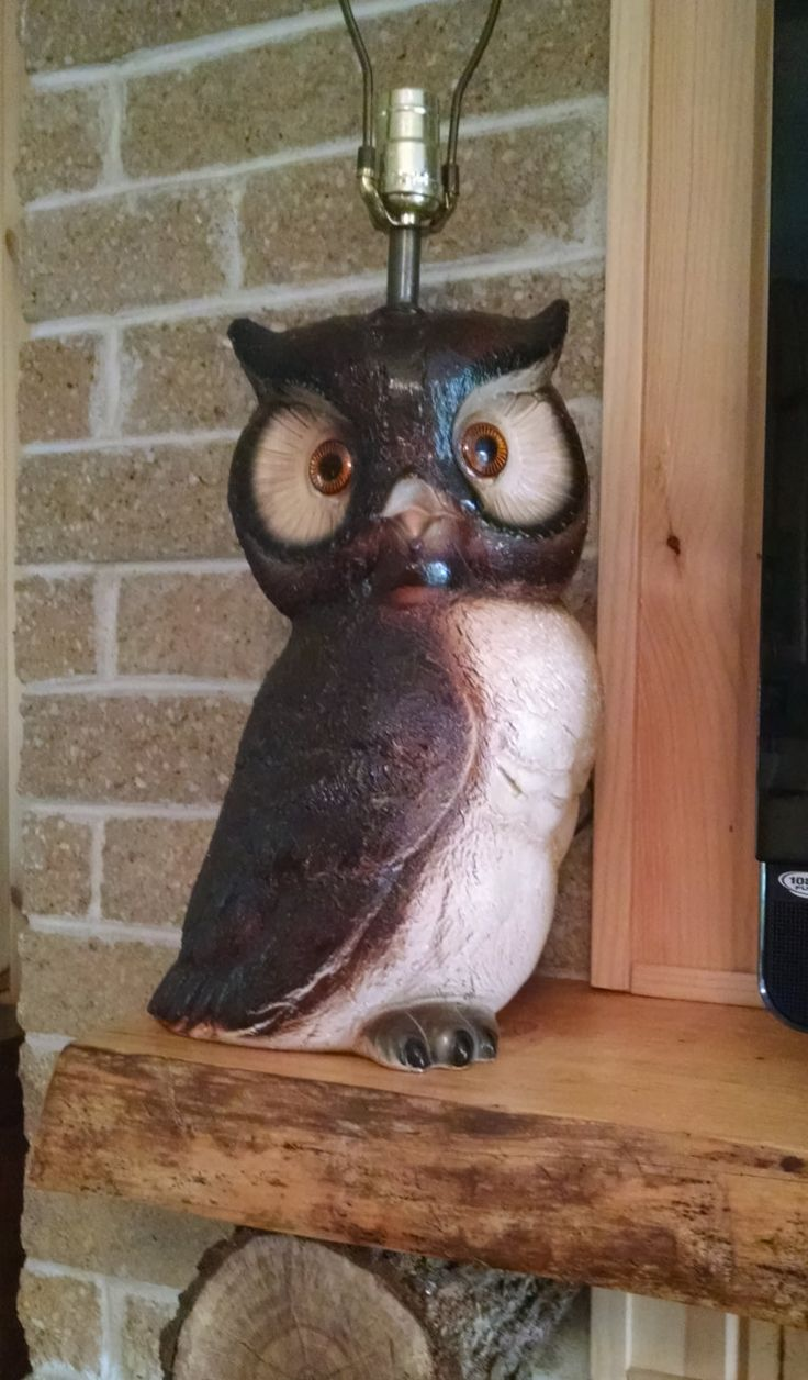 Vintage owl lamps - Owl Lamp With Light Up Eyes Ceramic Light Fixture Vintage 1970s Table Lamp