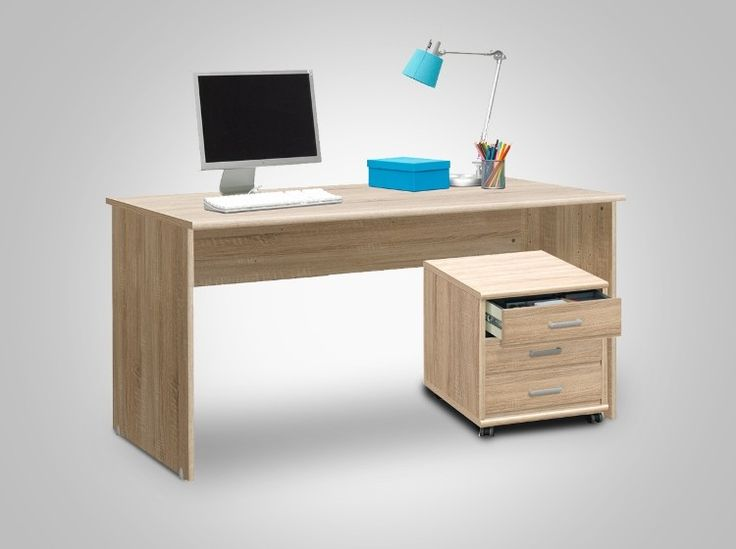 Softplus desk and drawers on wheels (Oak) - This desk in oak from Soft Plus is clean line designed. Very modern, it is a great one to have in a home office or kidsroom. The depth is good to have a laptop or PC and additional papers/files open at the same time. Also great for kids as they need optimum space to spread out their stationary and books all at once. This one comes with a matching set of drawers on wheels to keep things more organized!