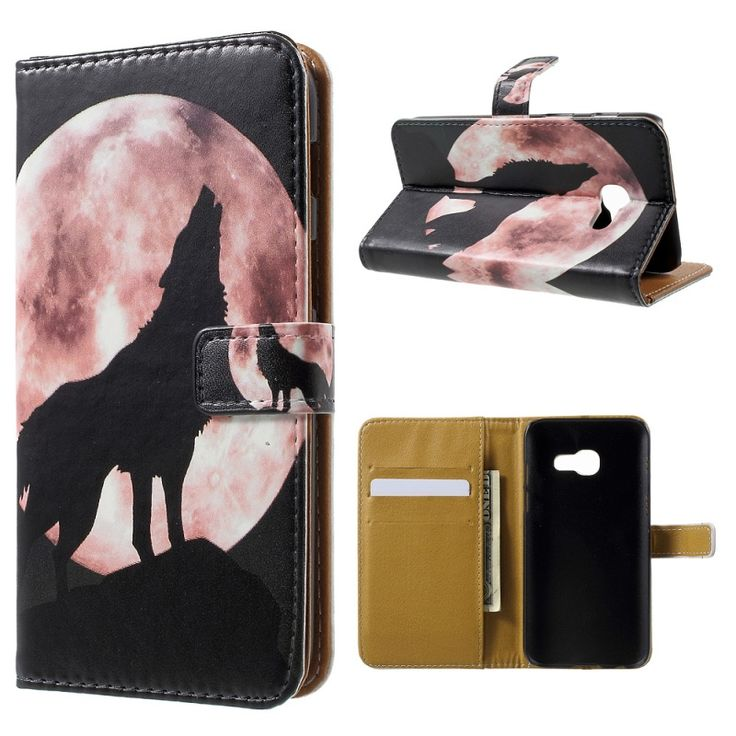 Cover for Galaxy A3 (2017) Pattern Printing PU Leather Wallet Cases for Samsung Galaxy A 3 (2017) Shell-Wolf Howling at the Moon