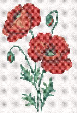 SKU 10259 Cross stitch machine embroidery poppy No4