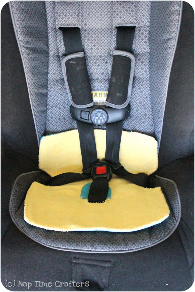 With a recently potty trained toddler and lots of road trips this summer I decided to take some precautions… Because I really can't think of much worse than having to sit in a soggy car seat for 4 hours- ick… But… even if you aren't potty training right now you could also whip one of these up for trips home from the pool- sitting on