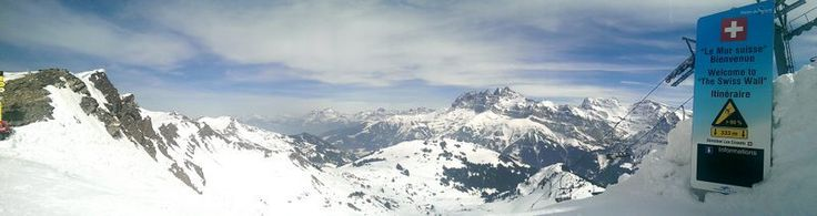 The panorama at the top of Le Mur Suisse - The Swiss Wall.  Deemed one of the 5 hardest runs in the world.