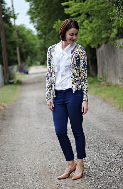 blue pants, bow blouse, patterned cardigan, work look